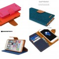 Goospery Canvas Diary Case for iPhone 11 (6.1) [Navy / Camel]