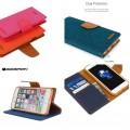 Mercury Goospery Canvas Diary Case for iPhone 11 (6.1) [Blue / Camel]