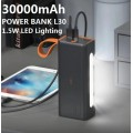 ABS L30 30,000 mAh Power Bank ( 67H Sustainable Lighting; 3A MAX: 2 USB/ TYPE-C/ MICRO)