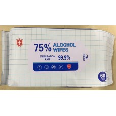 60 PCS 75% Alcohol Disinfectant Antibacterial Effective Sterilization 99.9% Wipes