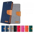 Goospery Canvas Diary Case for Samsung Galax S20 Plus [Navy / Camel]