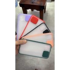 Slide Camera Lens Protection Matte Transparent Back Case For iPhone 11 Pro Max [Black]