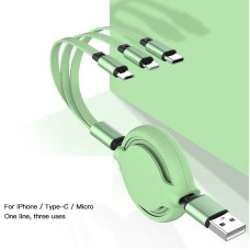 3 in 1 Retractable Multi Micro USB Data Charger Cable Cord For iPhone Samsung Android [Silica Gel]