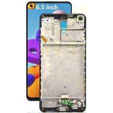 Samsung Galaxy A21S SM-A217 PLS TFT and Touch Screen Assembly with frame [Black]