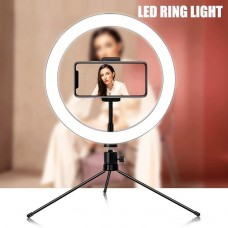"8"" Selfie Ring Light with Desk Tripod Stand & Phone Holder for Makeup Live Stream, Photography and YouTube Video"