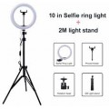 """10"""" Selfie Ring Light with 2.1m Tripod Stand & Phone Holder for Makeup Live Stream"""
