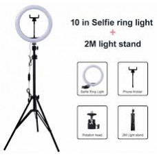 "10"" Selfie Ring Light with 2.1m Tripod Stand & Phone Holder for Makeup Live Stream"