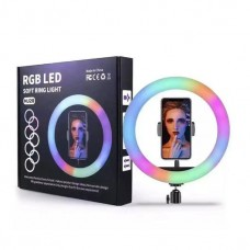 "10"" RGB LED Ring Light Lamp Phone Selfie Camera Studio Video Dimmable Desk Tripod Stand"