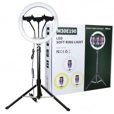 "12"" Selfie Soft Ring Light Set with 1.6m Tripod Stand & 3 x Phone Holder for Makeup Live Stream"