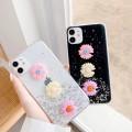 Bling Glitter Flower Soft TPU Case for iPhone 11 [Black]