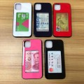 Shockproof TPU bumper toughened glass back case with Card Holder For iPhone 12 Mini [Red]