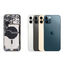 iPhone 12 Pro Max Housing with Back Glass cover, Charging Port and Power Volume Flex Cable [Pacific Blue][High Quality]