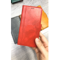 """Leather Wallet Case with Side Magnet Button For Apple iPhone 12 ProMax 6.7"""" [Red]"""