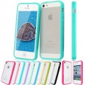 TPU Bumper Frame With Matte Clear Hard Back Skin Case Cover for iPhone 5 5S [Blue]