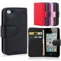 Leather Wallet Case For Iphone 4/4s [Black]