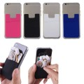 Silicone Mobile Phone Wallet Credit ID Card Stick Holder [Black]