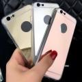 Slim Metal Mirror Case for iphone 6/6S [Black Silver]