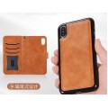 Magnetic Detachable Leather Wallet Case For iPhone XS MAX [Brown]