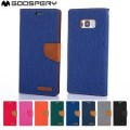 Goospery Canvas Flip Case for Samsung Galax J7 Prime G610 [Blue / Camel]