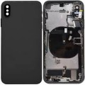 iPhone XS Housing with Back Glass,Charging Port and Power Volume Flex Cable [Black][High Quality]