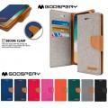 Mercury Goospery Canvas Diary Case for Samsung Galax A8 A530 [Blue / Camel]