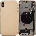 iPhone XS Max Housing with Back Glass Cover, Charging Port and Power Volume Flex Cable [Gold] [Aftermarket]