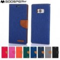 Goospery Canvas Diary Case for Samsung Galax A70 / A705 / A70S / A707 [Blue / Camel]