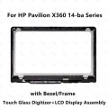 HP Pavilion X360 14-BA Series LCD Display touch Screen Digitizer Glass with Frame